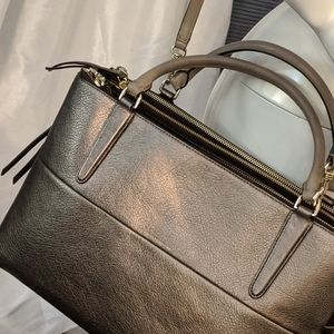 COACH RETIRED BOROUGH GOLD METALLIC LEATHER BAG